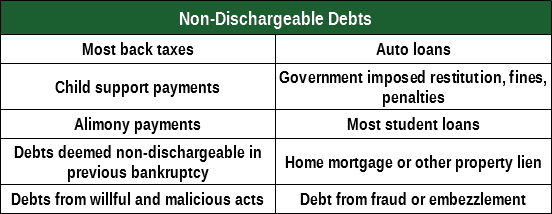 Chart Listing Non-Dischargable Items