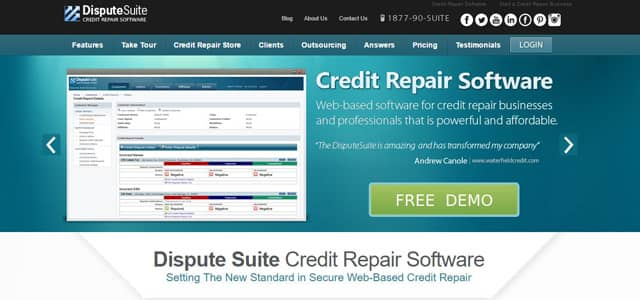 Screenshot of Dispute Suite's homepage