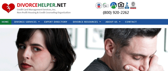 Screenshot of the Divorcehelper.net homepage