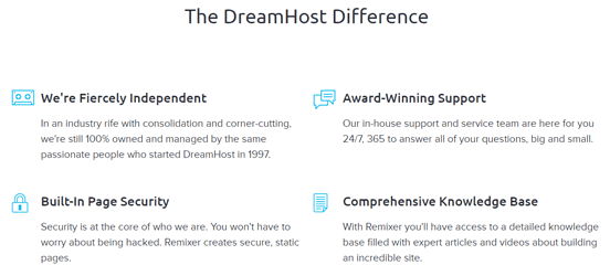 Screenshot from the DreamHost Site