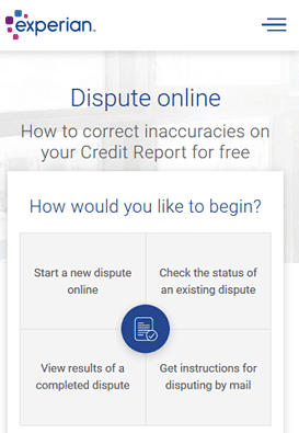 Screenshot of Experian Online Dispute Form