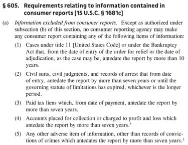 Screenshot of Part of the Fair Credit Reporting Act