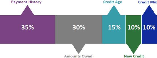 Bar Chart of FICO Credit Score Factors