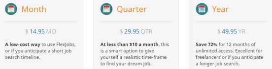 Screenshot of FlexJobs' Pricing Tiers