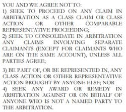 Sample Forced Arbitration Clause from JPMorgan Chase