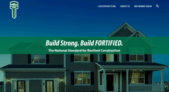 Screenshot of the FORTIFIED Home page on IBHS