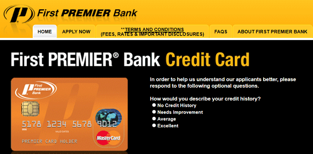 Screenshot of First PREMIER Credit Card Page