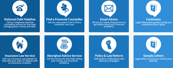 Screenshot of Services on the Financial Rights Legal Centre Homepage