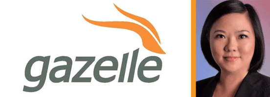 Collage of the Gazelle logo and Gazelle's Yanyan Ji