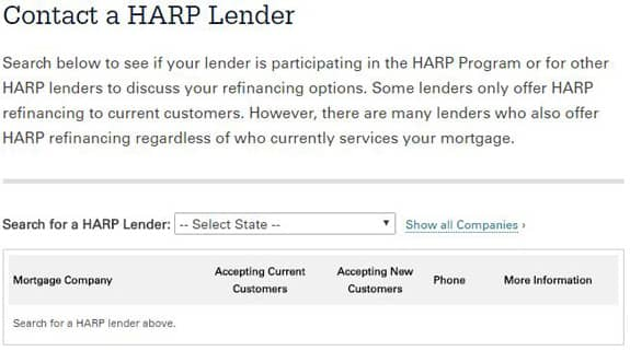 Screenshot of HARP lender search tool