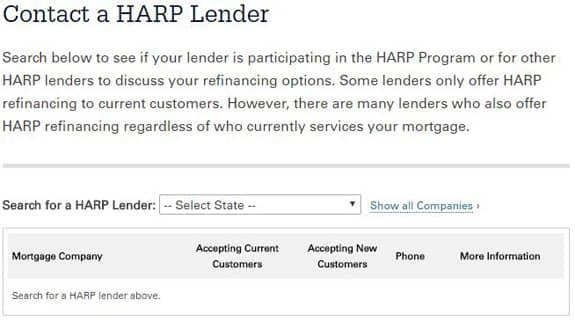 Screenshot of HARP lender search tool