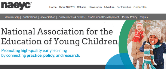 Screenshot of NAEYC Homepage