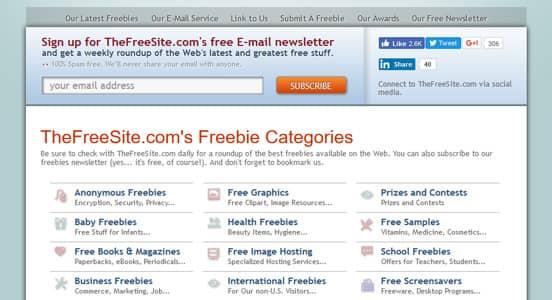 Screenshot of TheFreeSite Homepage