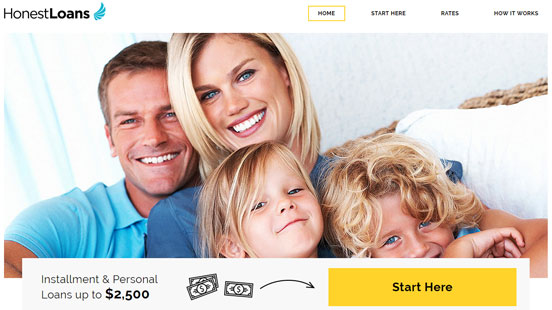 Screenshot of the HonestLoans Home Page