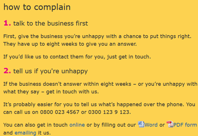 Screenshot of How to Complain from Financial Ombudsman Service Site