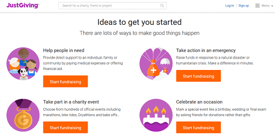 Screenshot of JustGiving Homepage