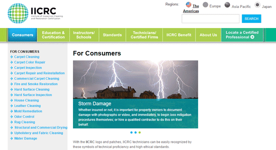 Screenshot of IICRC's section on consumer information