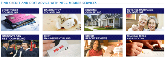 Screenshot of NFCC member services