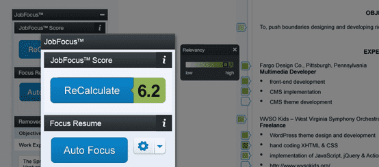 Screenshot of JobFocus score on résumé