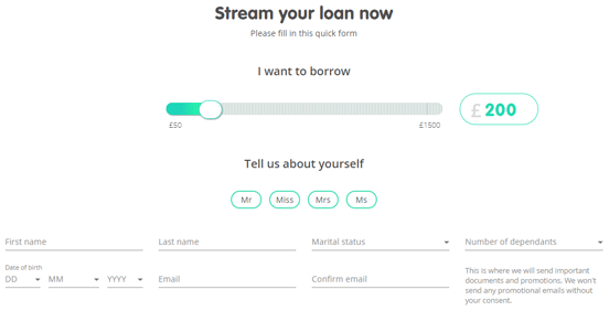 Screenshot of a Lending Stream Application