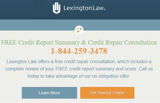 Screenshot of Lexington Law Homepage