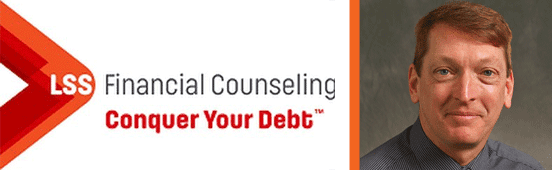 Collage of the LSS Financial Counseling logo and a portrait of Darryl Dahlheimer, Program Director