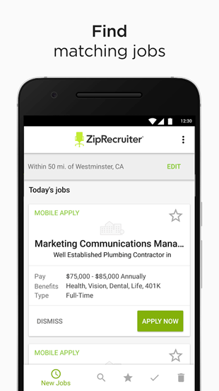 Screenshot of ZipRecruiter Mobile App