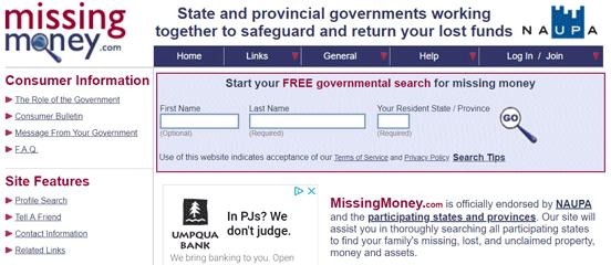 Screenshot of the MissingMoney.com Home Page