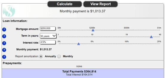 Screenshot from Sharonview's Mortgage Calculator