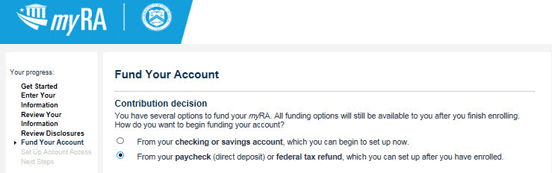 Screenshot of myRA Funding Options Page