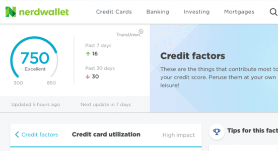 Screenshot of NerdWallet Credit Score Page