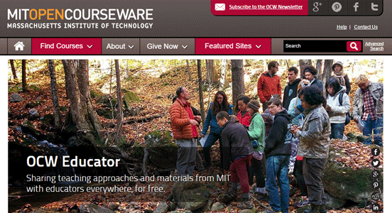 Screenshot from the OCW Educator page on MIT OpenCourseWare