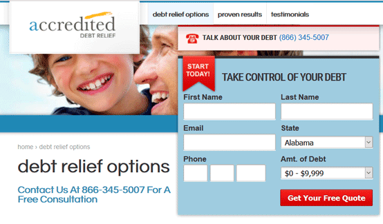 Screenshot of Accredited Debt Relief -- Options Page