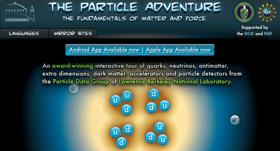 The Particle Adventure Website Homepage