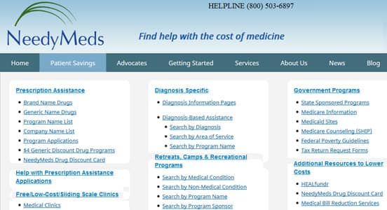 Screenshot of NeedyMeds Prescription Assistance Options