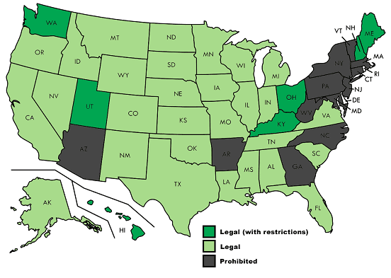 Map of Payday Loan Legality in the US