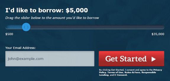 Screenshot of PersonalLoans.com homepage