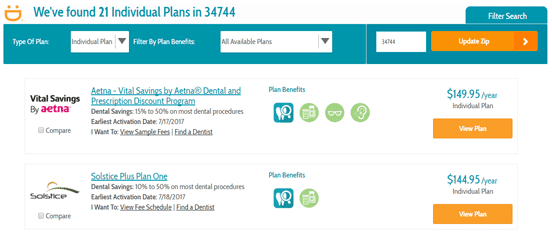 Screenshot of individual plans available on DentalPlans.com