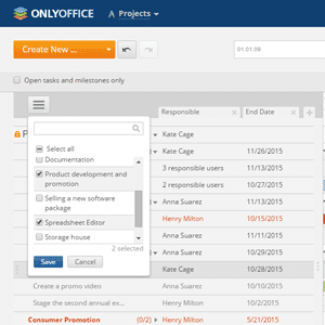 Screenshot of ONLYOFFICE Project Management