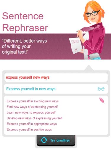 Screenshot of Ginger Sentence Rephraser