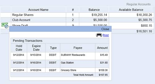 Image of an online account with pending transactions.