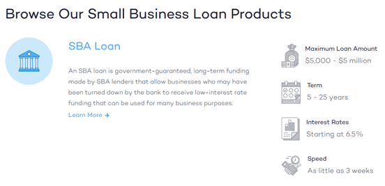 Screenshot from the Fundera Business Loans page