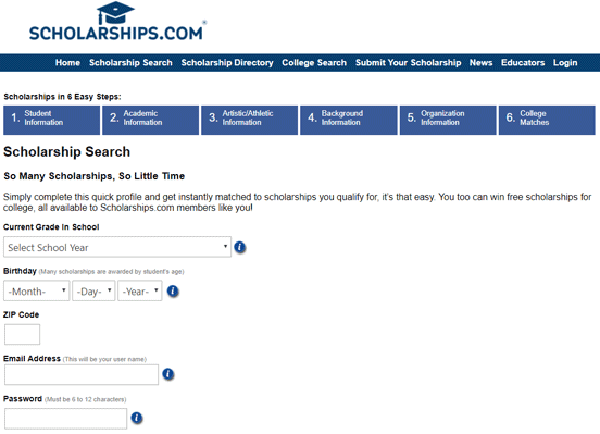 Screenshot of the Scholarship Search on Scholarships.com