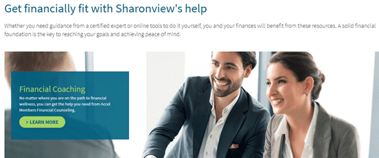 Screenshot from Sharonview's Financial Wellness page