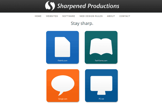 Screenshot of the Sharpened Production homepage