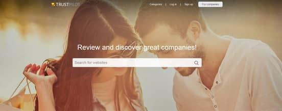 Screenshot of the Trustpilot Homepage