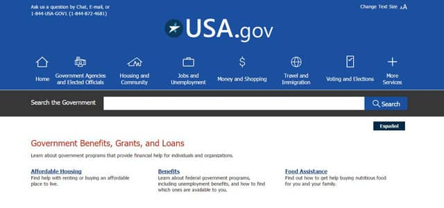 Screenshot of the USA.gov homepage