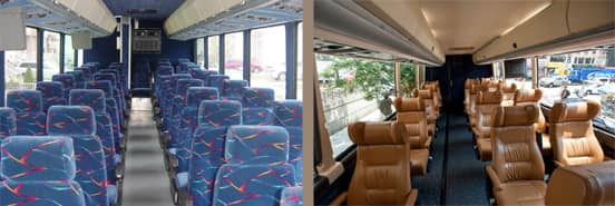 Photo Collage of the Interiors of Vamoose Buses
