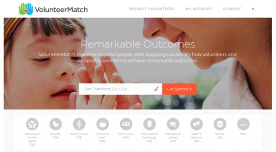 Screenshot of the VolunteerMatch Homepage