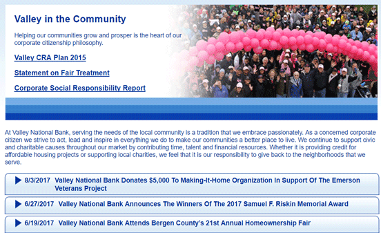 Screenshot from the Valley in the Community page